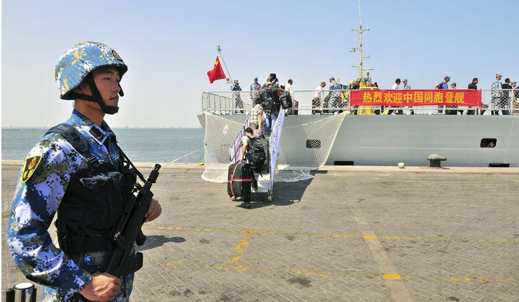 A PLA guard at China's naval base in Djibouti, Africa. Photo: Reuters