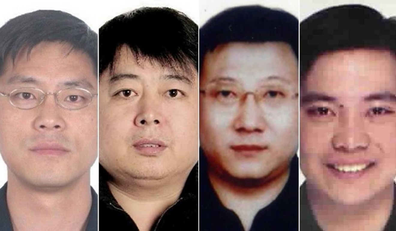 A combination of photos provided by China's CCDI shows graft suspects Li Wenge, Xiao Bin, He Jian and Michael Ching Mo Yeung. All four, and a fifth man Wang Qingwei, are suspected of living in British Columbia, Canada. The SCMP draws no conclusions about the men's guilt or innocence. Photos: CCDI